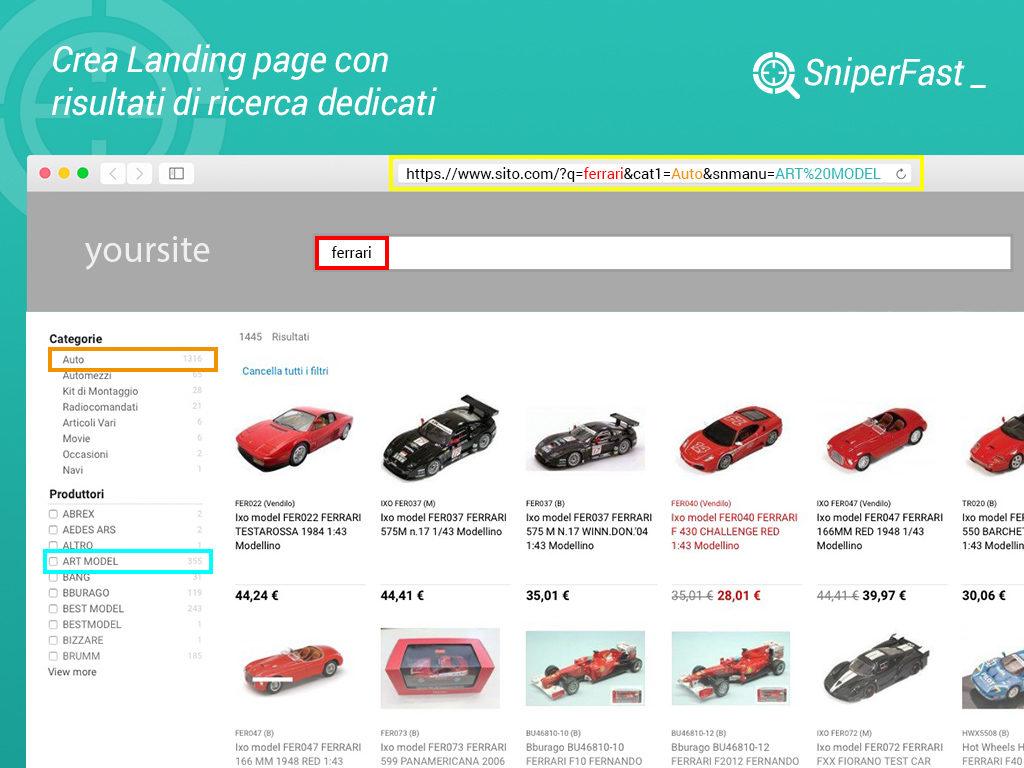 crea landing page di ricerca ecommerce